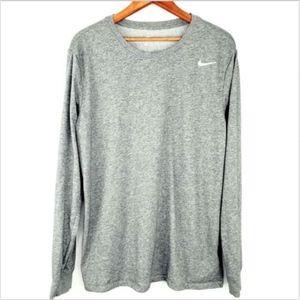 The Nike Tee Long Sleeve Shirt Gray Size Large